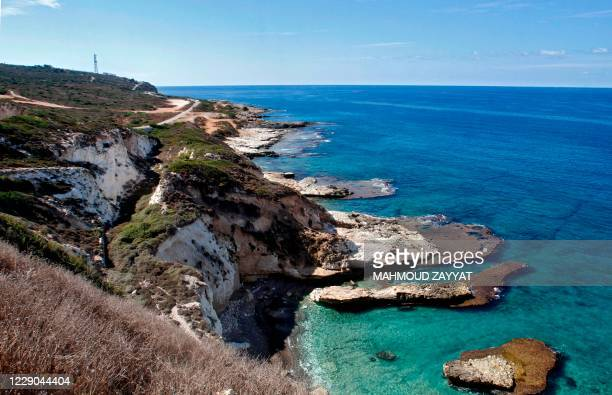 Picture taken on October 13 shows the southernmost stretch of Lebanese coastline in the area of Naqura, by the border with Israel. - Lebanon and...