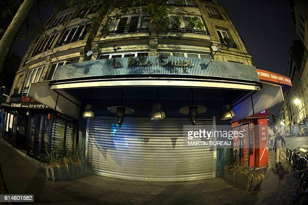 A picture taken on October 14 2016 in Paris shows the restaurant 'La Belle Equipe' one of the targets of the terrorist attacks of November 13 2015 in...