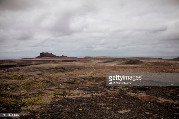 A picture taken on October 14 2017 shows a general view of the landing strip of the newly built Saint Helena airport in the volcanic tropical island...