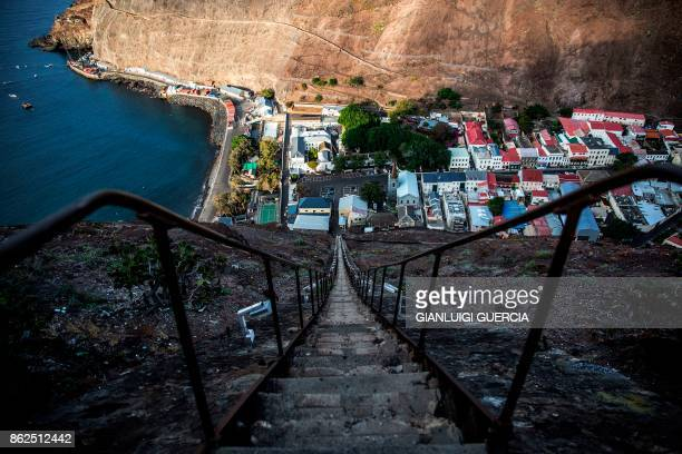 TOPSHOT A picture taken on October 15 2017 from a hill shows a general view of Saint Helena's capital Jamestown on the British Overseas Territory of...