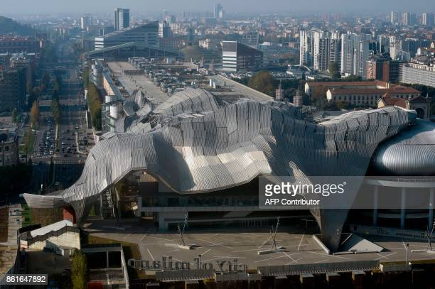 A picture taken on October 15 2017 from the Generali tower also called Hadid tower designed by Zaha Hadid studio in the Citylife neighborghood shows...