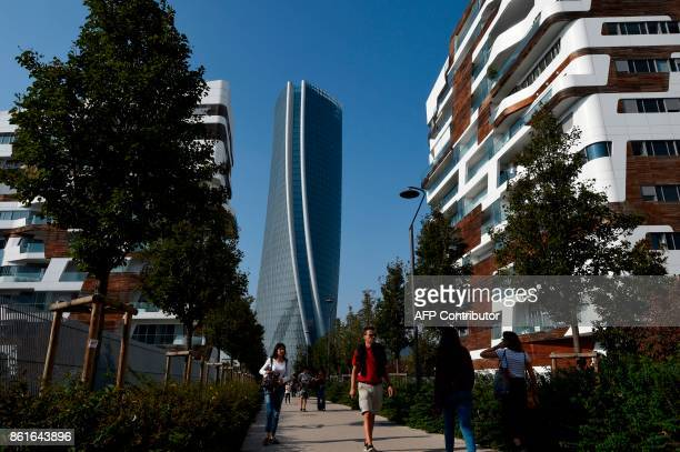 A picture taken on October 15 2017 shows the Generali tower also called Hadid tower designed by Zaha Hadid studio in the Citylife neighborghood...