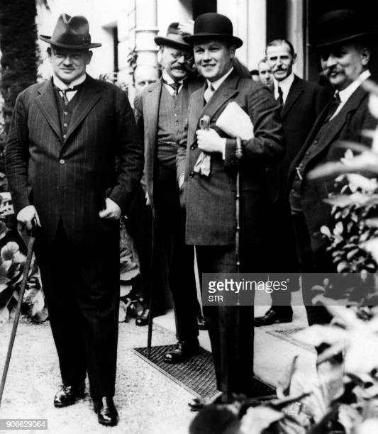 A picture taken on October 16 1925 shows then German Foreign Minister Gustav Stresemann posing during the signing of the agreement known as the...