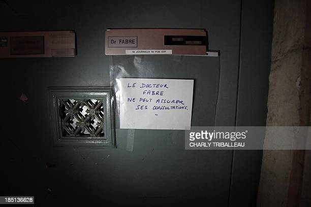 A picture taken on October 17 2013 in Rouen shows the mail box of Pedo psychiatrist Laurent Fabre who was found stabbed to death that day next to his...