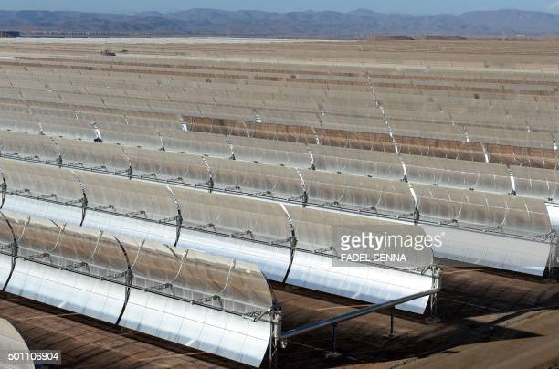 MAKHFI A picture taken on October 17 2015 shows solar mirrors at the Noor 1 Concentrated Solar Power plant some 20km outside the central Moroccan...