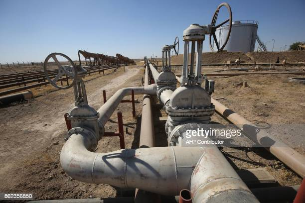 A picture taken on October 17 2017 shows the Bai Hassan oil field west of the multiethnic northern Iraqi city of Kirkuk Iraqi forces took control of...