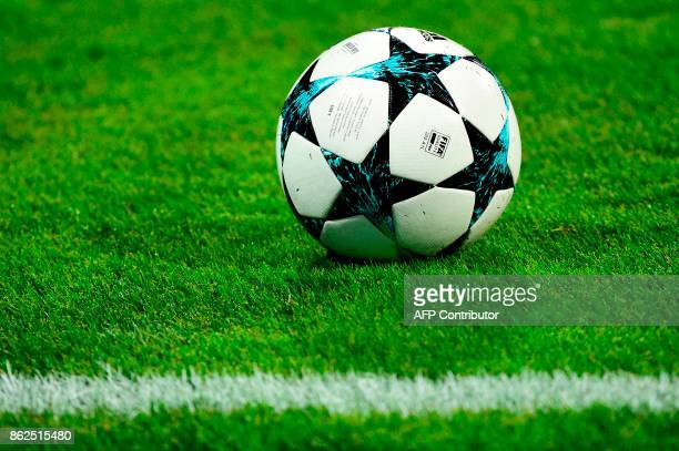 A picture taken on October 17 2017 shows the ball prior to the UEFA Champions League group E football match between NK Maribor and Liverpool at the...