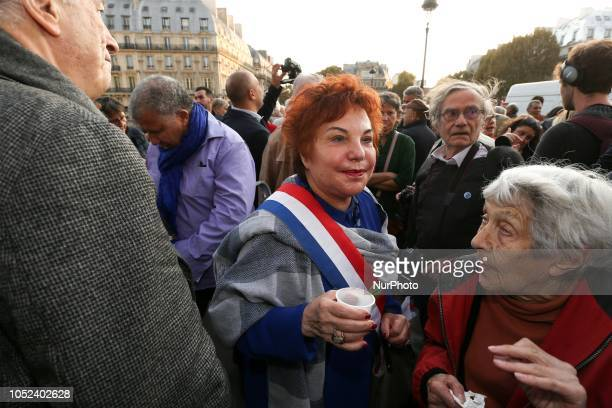 A picture taken on October 17 2018 shows FrenchTurkishIsraeli historian and Europe EcologieLes Verts Green Party's Senator Esther Benbassa on the...