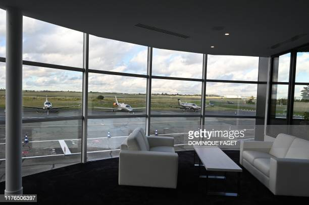 A picture taken on October 17 2019 shows a view of a lounge of the Astonsky terminal at the Bourget airport near Paris which provides airport...