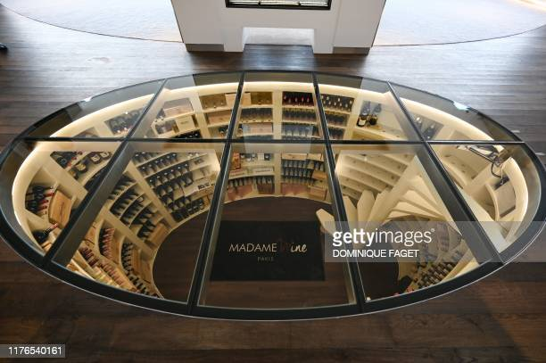 Picture taken on October 17, 2019 shows the wine cellar at the Astonsky terminal at the Bourget airport near Paris which provides airport handling...