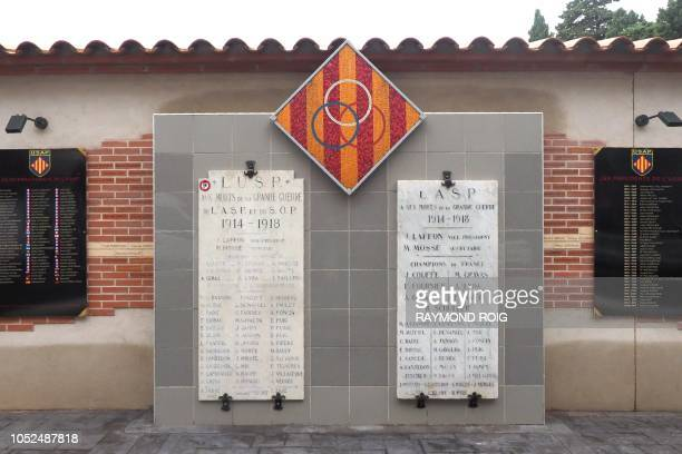 Picture taken on October 18 2018 shows a World War I memorial dedicated to the dead members of the French rugby union of Perpignan at the AimeGiral...