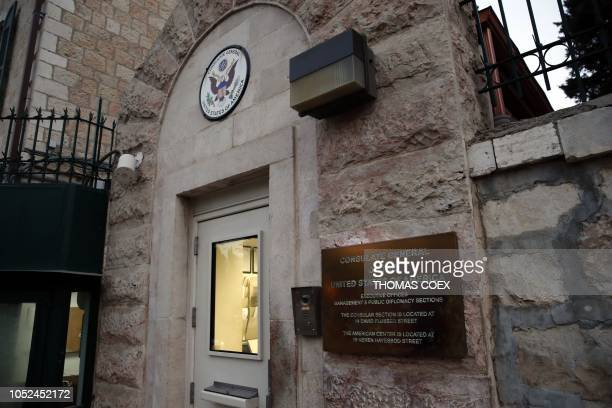A picture taken on October 18 2018 shows the entrance to the US Consulate in Jerusalem US Secretary of State Mike Pompeo announced today that the US...