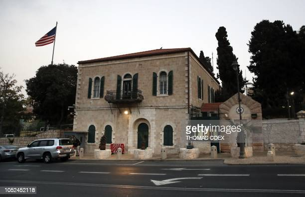 Picture taken on October 18, 2018 shows the US consulate in Jerusalem. - US Secretary of State Mike Pompeo announced today that the US office in...