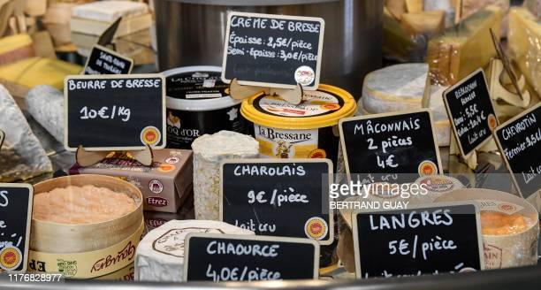 Picture taken on october 18, 2019 shows AOP cheese during the AOP fair in front of the Hotel de Ville in Paris.