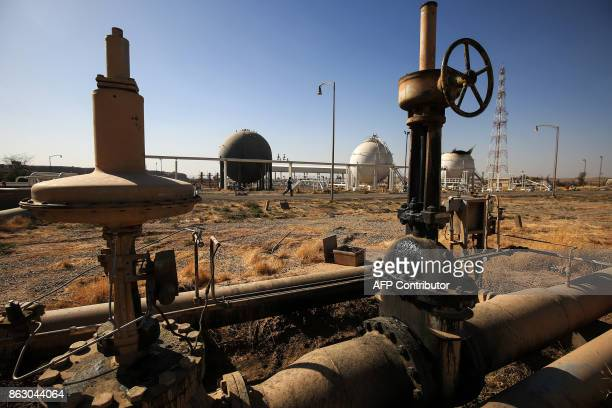 A picture taken on October 19 2017 shows a view of the pipeworks at the Bai Hassan oil field west of the multiethnic northern Iraqi city of Kirkuk...