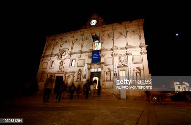 Picture taken on October 19, 2018 shows the Palazzo Lanfranchi in the southern Italian city of Matera, which has been selected as the 2019 European...