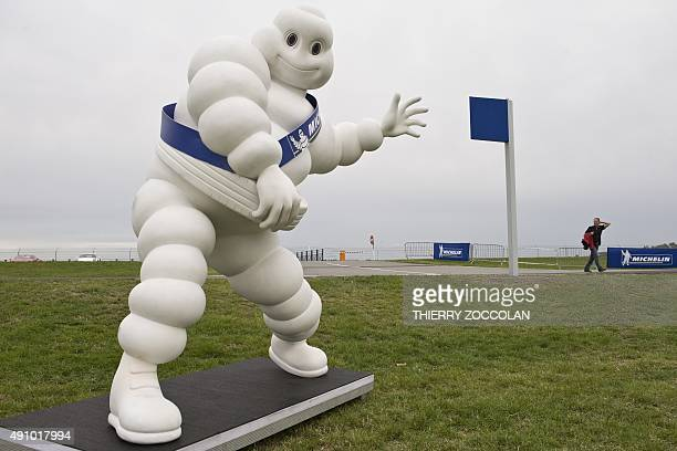 A picture taken on October 2 2015 in Cebazat near ClermontFerrand near the French tire manufacturer Michelin technology centre shows the Bibendum...
