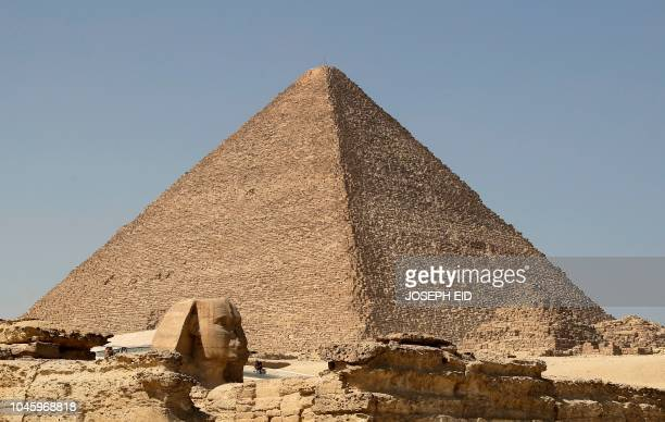 A picture taken on October 2 shows a view of the pyramid of Khafre on the Giza Plateau on the southwestern outskirts of the Egyptian capital Cairo