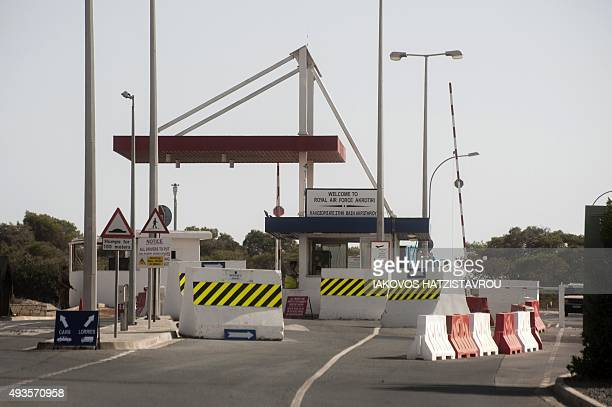 A picture taken on October 21 2015 shows a general view at the entrance to the British airbase at Akrotiri near Cyprus' second city of Limassol Some...