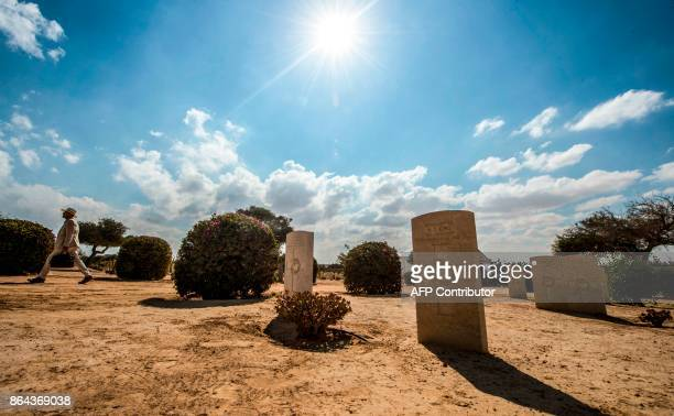 A picture taken on October 21 2017 shows the Allied tombstones at El Alamein War Cemetary on the 75th anniversary of the pivotal WWII battle in the...