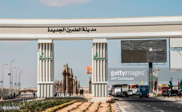 A picture taken on October 21 shows the highway gates to the New Alamein City situated about 100 kilometres west of the northern city of Alexandria /...