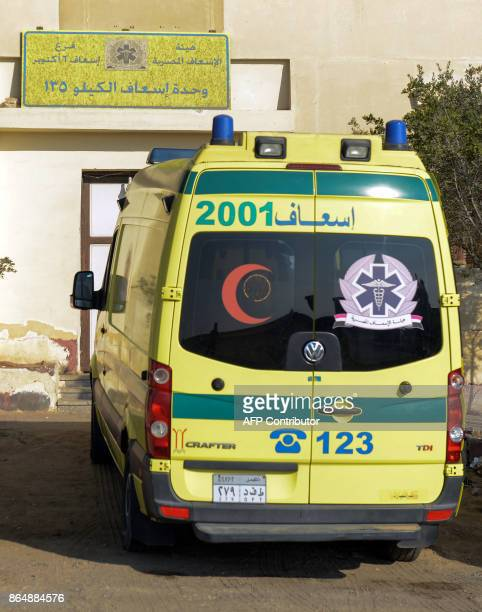 A picture taken on October 22 2017 shows an ambulance parked at a medical emergency station on the desert road towards the Bahariya Oasis in Egypt's...