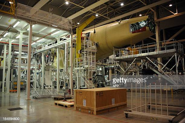 Picture taken on October 23 2012 in Toulouse southern France of an Airbus longhaul plane A350 XWB under construction at the A350 at the airbus...