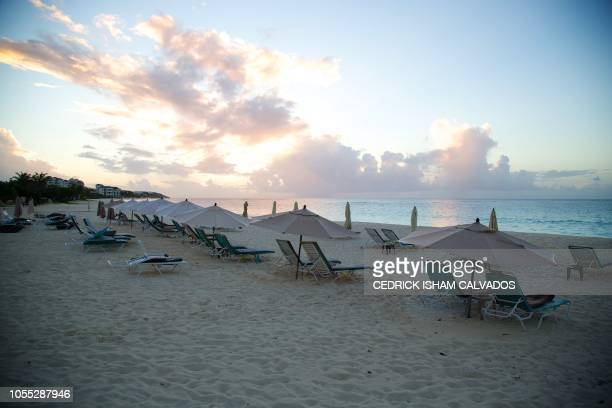 Picture taken on October 23, 2018 shows a beach in Anguilla, a British overseas territory. - The tiny Caribbean island of Anguilla lives in harmony...
