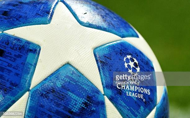 A picture taken on October 24 2018 shows the official UEFA Champions League football before the UEFA Champions League Group C football match between...