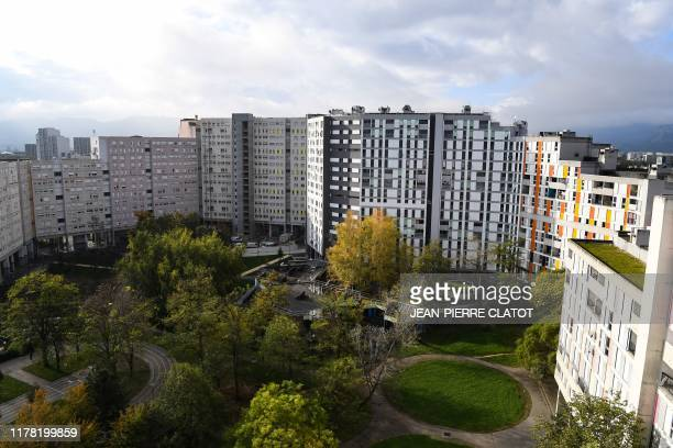 A picture taken on October 24 2019 shows a block of buildings planned for demolition or renovation following a Citizens' initiative referendum in the...