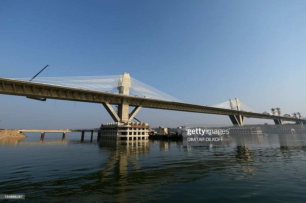 A picture taken on October 24, 2012, shows a part of the construction of the Calafat-Vidin bridge on Danube river between Bulgaria and Romania.