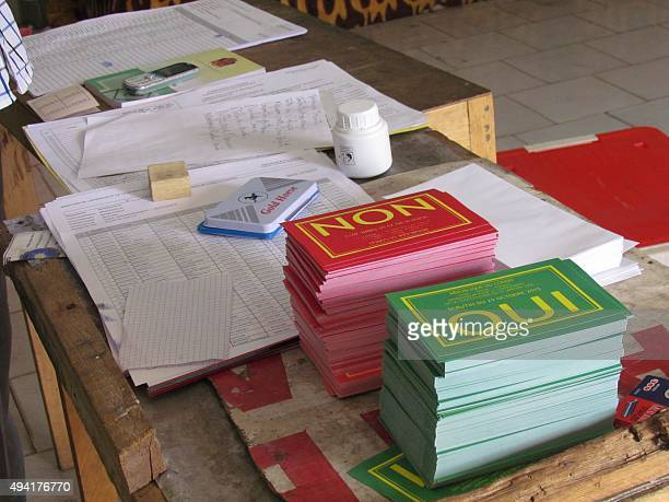 A picture taken on October 25 2015 in Brazzaville shows the ballots for a referendum on whether longtime President Denis Sassou Nguesso can seek a...