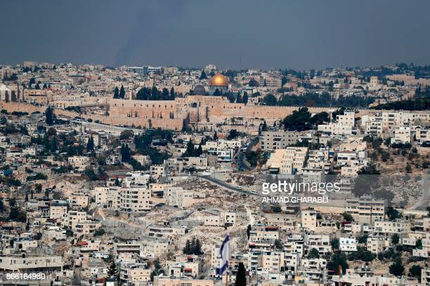 A picture taken on October 25 2017 from Jabel Mukaber a Palestinian neighbourhood in Israelioccupied East Jerusalem shows the Old City of Jerusalem...