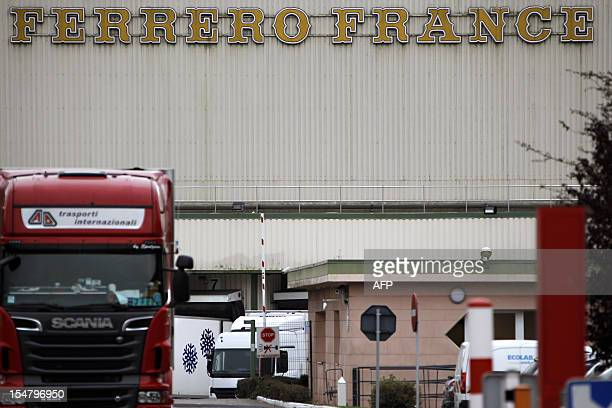Picture taken on October 26 2012 in VillersEcalles of the facade of Ferrero plant where the Nutella chocolate hazelnut is made AFP PHOTO/CHARLY...