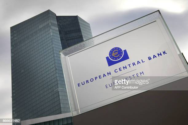Picture taken on October 26, 2017 shows the building of the European Central Bank in Frankfurt am Main, western Germany. European Central Bank chief...