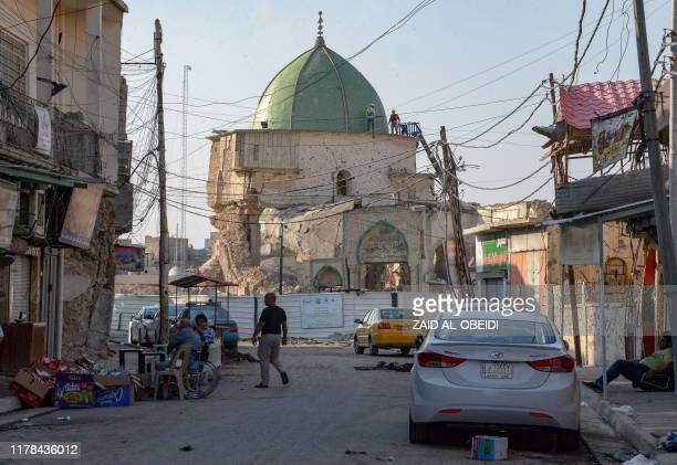 A picture taken on October 27 2019 shows Mosul's heavily damaged AlNuri Mosque in the former base of the Islamic State group in northern Iraq where...