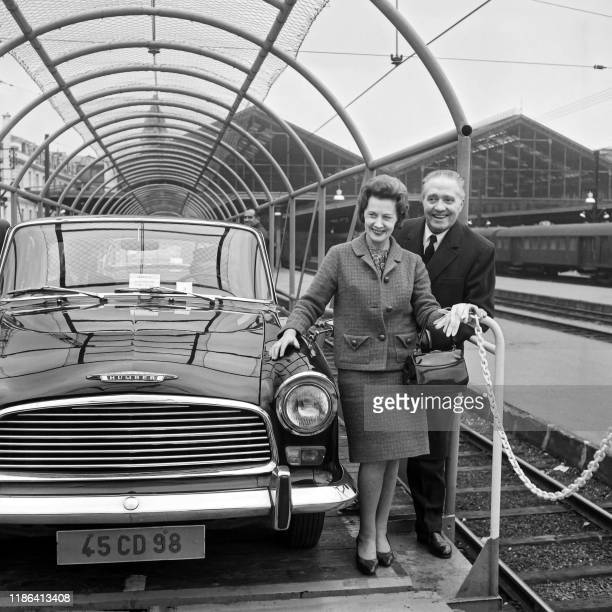 Picture taken on October 29 1966 at Paris showing British Transports Minister Barbara Castle with SNCF CEO André Segalat onboard a traincar expected...