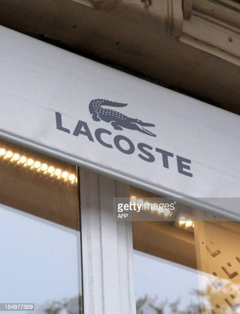 574a155449d2 A picture taken on October 29 2012 shows a logo of French clothing company  Lacoste in