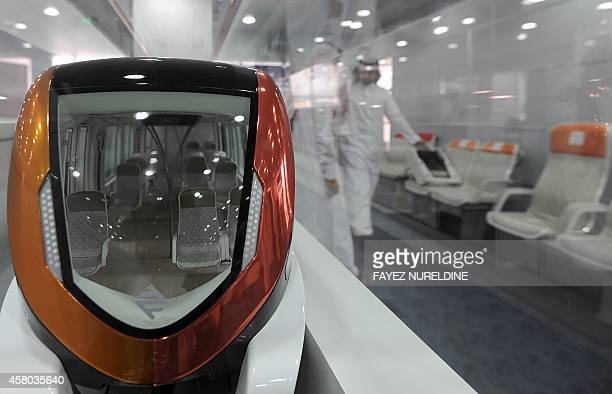 A picture taken on October 29 2014 shows a model of a train at the company's operation building in Riyadh The trafficclogged and sprawling Saudi...