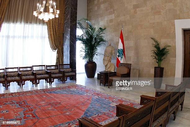 A picture taken on October 29 2016 shows a view of a room at the presidential palace in Baabda on the outskirts of Beirut two days before the...