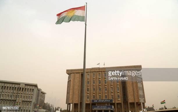 A picture taken on October 29 2017 shows the building of Iraq's autonomous Kurdistan region's parliament in Arbil Kurdistan's capital in northern...