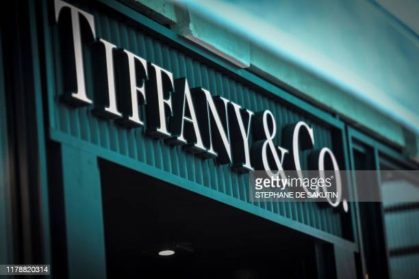 A picture taken on October 29 2019 shows the US luxury shop TiffanyCo's logo outside a TiffanyCo Shop in Paris French luxury giant LVMH said on...