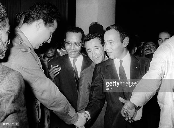 A picture taken on October 31 1963 shows Algerian President Ahmed Ben Bella shaking hands with King Hassan II of Morocco after signing a ceasefire...