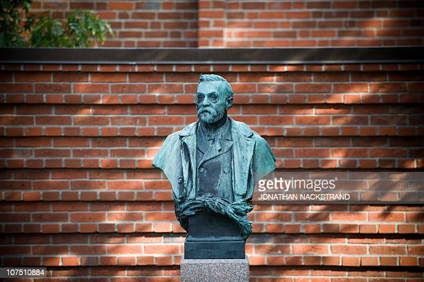 A picture taken on October 4 2010 shows the statue of Alfred Nobel at the Karolinska Institute in Stockholm AFP PHOTO/JONATHAN NACKSTRAND