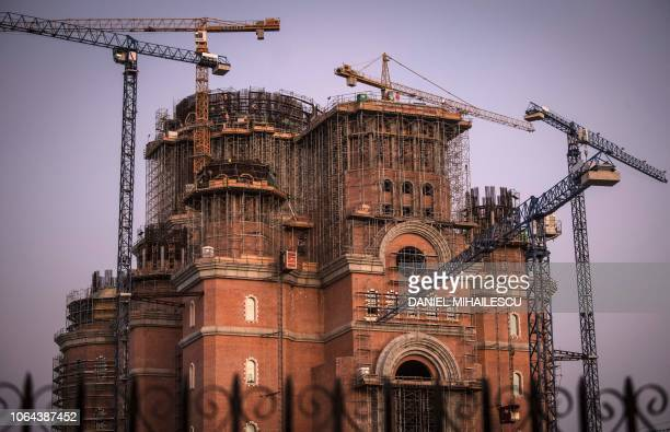Picture taken on October 4 2018 shows a general exterior view of the construction site of The Romanian People's Salvation Cathedral in Bucharest...