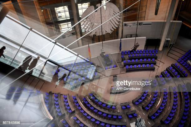 A picture taken on October 5 2017 shows a view of the plenary hall at the Bundestag lower house of parliament in Berlin / AFP PHOTO / John MACDOUGALL
