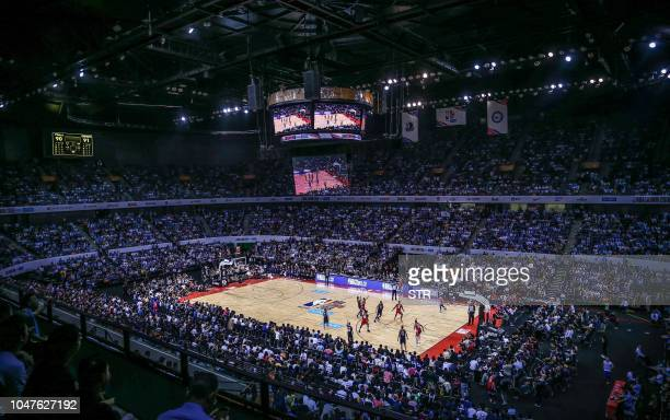 A picture taken on October 8 2018 shows a general view of the preseason NBA basketball game between Dallas Mavericks and Philadelphia 76ers in...
