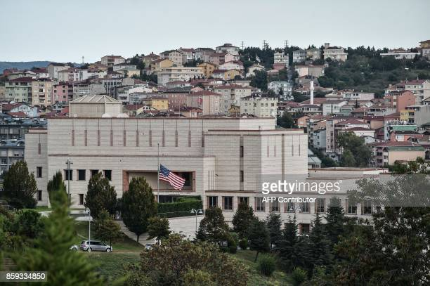 Picture taken on October 9, 2017 shows a general view of US consulate in Istanbul. Turkey on October 9, 2017 urged the United States to reverse a...