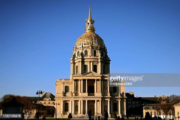 Picture taken on on February 27 shows the facade of the dome of the Hotel des Invalides, where the body of French Emperor Napoleon I was finally...