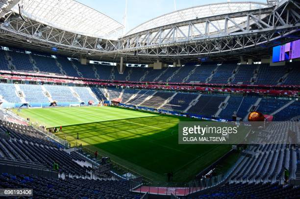 A picture taken on on June 15 2017 shows a general view of the SaintPetersburg arena at the Krestovsky Island in Saint Petersburg ahead of the 2017...